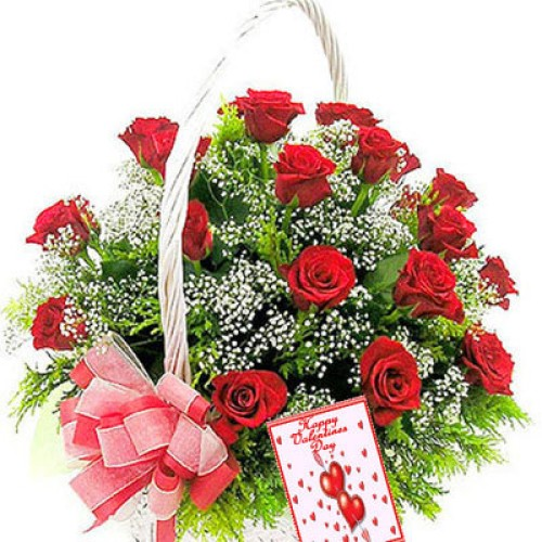 Red Roses Round Arrangement with Greeting Card