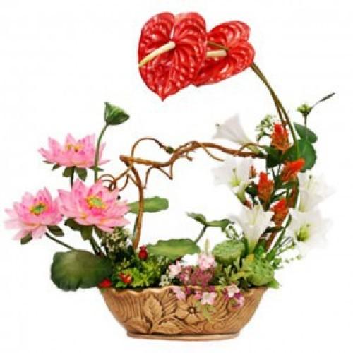Lilium With Orchids Arrangement