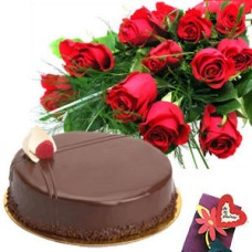 Chocolate Cake with Red Roses bunch .