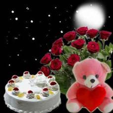 Roses + Cake + Soft Toy