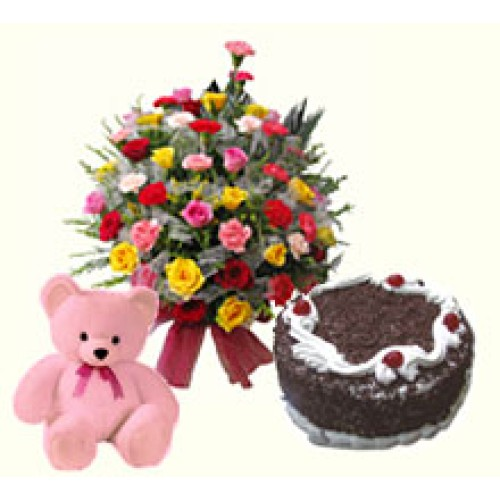 Carnations + Cake + Soft Toy