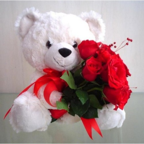 Roses + Teddy Bear