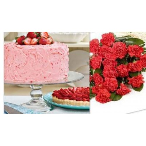 Strawberry Cake with Carnations