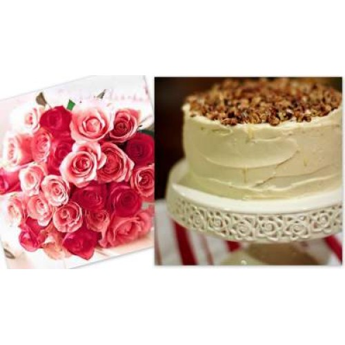 Vanilla Cake with Roses