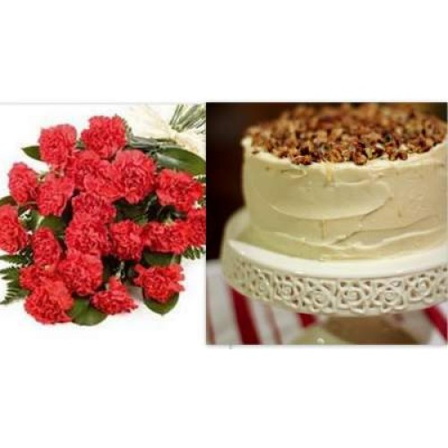 Vanilla Cake with carnations