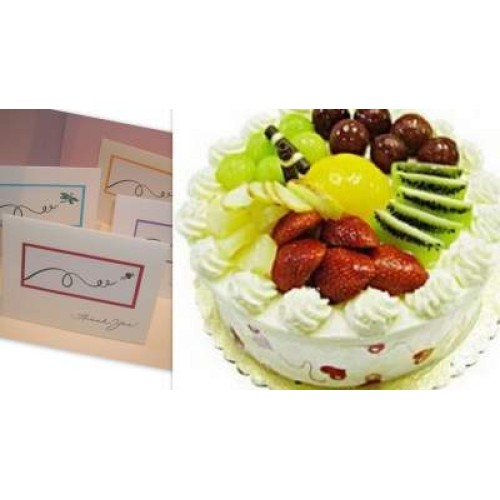 Fresh Fruit Cake with greeting card